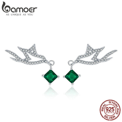 BAMOER High Quality 925 Sterling Silver Green CZ Geometric Shape Stud Earrings for Women Engagement Jewelry Making Gift BSE002