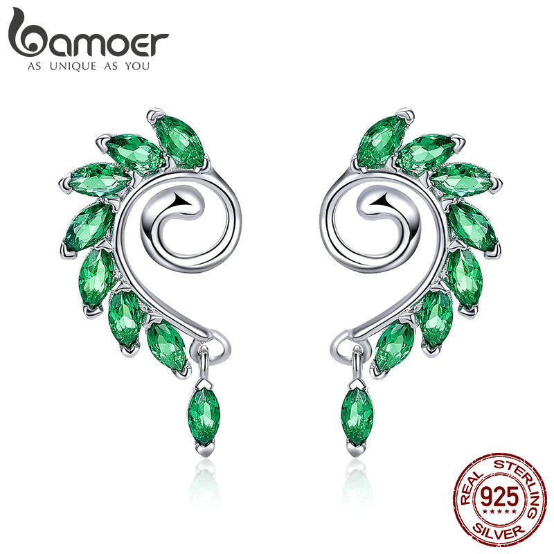 BAMOER High Quality 925 Sterling Silver Green CZ Tree Leaves Tree Leaf Stud Earrings for Women Fashion Jewelry 2018 BSE001