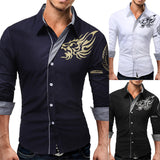 Men's Autumn Casual Cotton Print Slim Fit Long Sleeve Dress Shirt Top Blouse