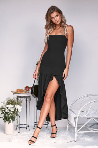 Glamaker Ruffle backless sexy long dress Women high waist irregular black party dress Elegant autumn maxi dresses vestidos 2018