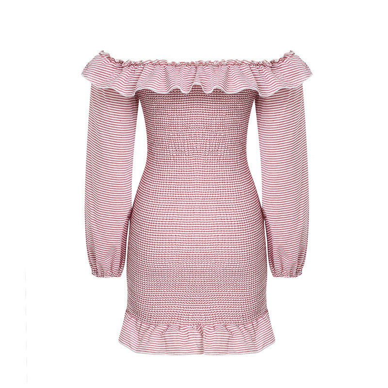 Glamaker Pink ruffle off shoulder stripe sexy dress Women autumn fitness larten sleeve mini dress Party casual club winter dress