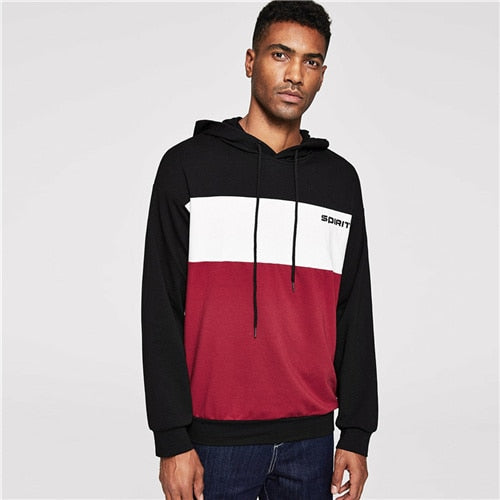 SHEIN Men Multicolor Casual Drawstring Color Block Letter Hoodie Sweatshirt Autumn Minimalist Mens Sweatshirts