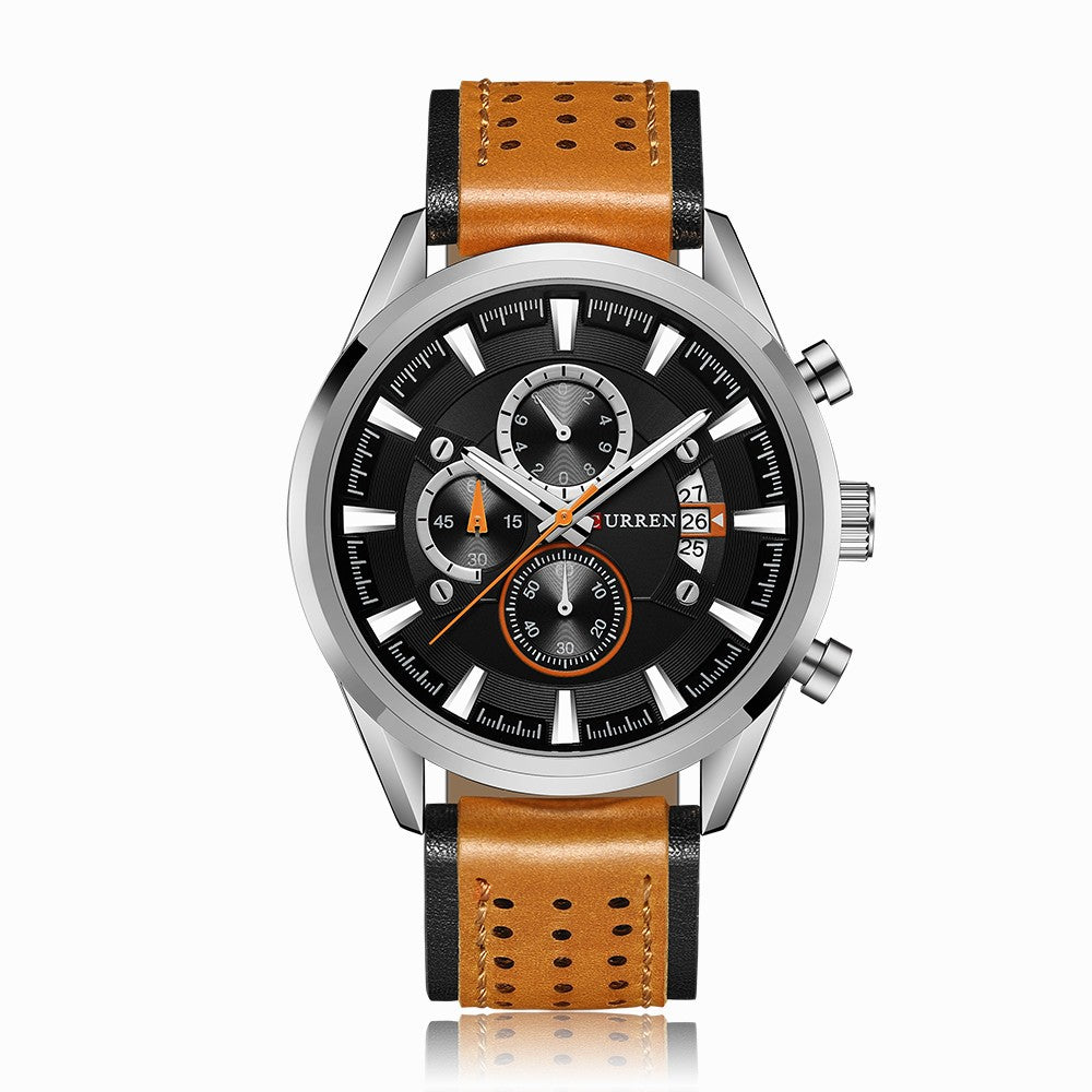 Curren Leather Band Watches Fashion Business Men Quartz Wrist Casual Sports Watches Chronograph Sub-Dials Male Wristwatch