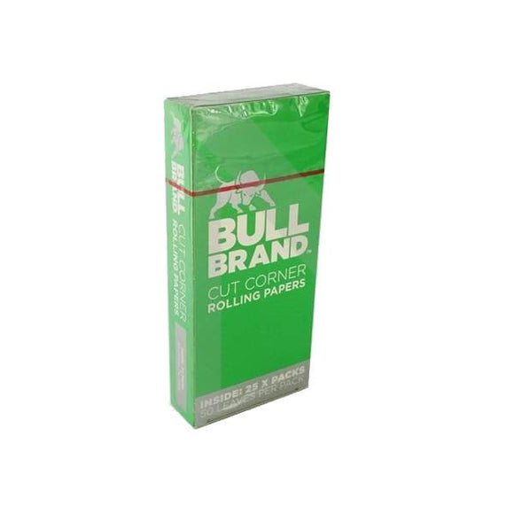 25 Bull Brand Green Cut Corner Rolling Papers - No1VapeTrail