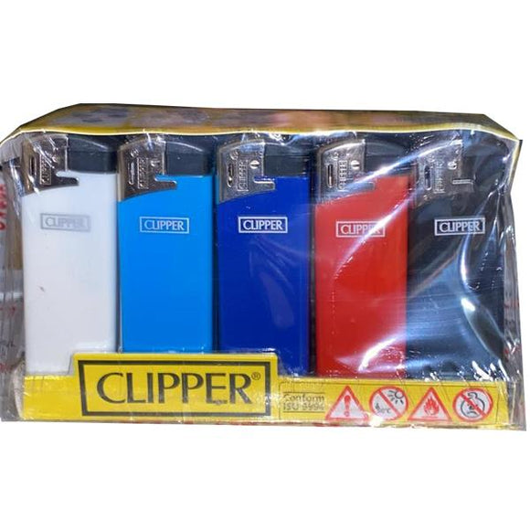 25 Clipper Flat Fit Translucent Electronic Lighters - TK21R