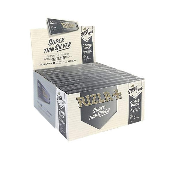 24 Rizla Silver Super Thin King Size Rolling Papers + Tips Combi Pack