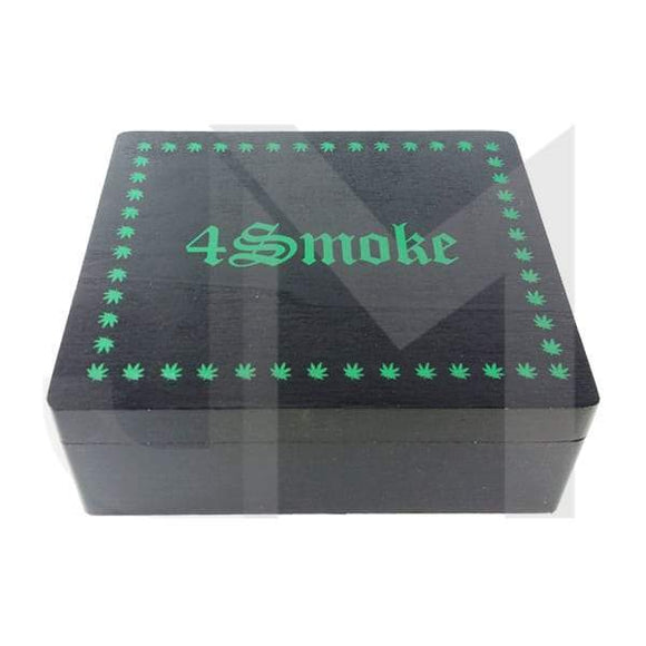 4Smoke Large Wooden Black Storage Box - No1VapeTrail
