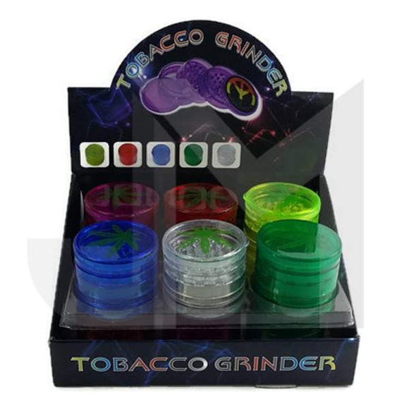 5 Parts Tobacco Plastic 60mm with Leaf Print Grinder- HX224LEAF - No1VapeTrail