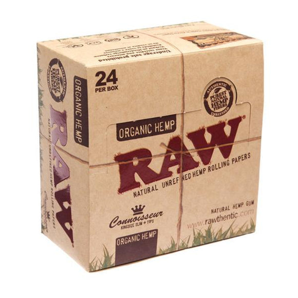 24 Raw Organic Hemp King Size Slim Papers + Tips (Connoisseur) - No1VapeTrail