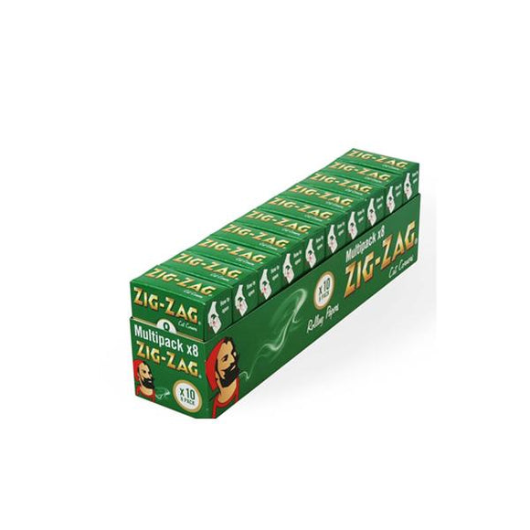 10 Pack x 8 Booklet Zig-Zag Green Regular Rolling Papers - No1VapeTrail