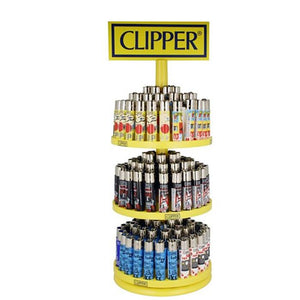 Clipper 3 Tire Display Carousel - 156 Mixed Design Lighters - CL3H070UKH - No1VapeTrail