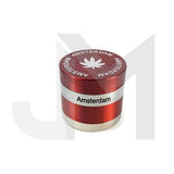 4 Parts Small Metal Amsterdam Silver Striped 40mm Grinder HX004A - No1VapeTrail