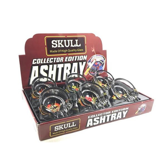 6 x Skull Design Ash Trays Glass Collector Edition