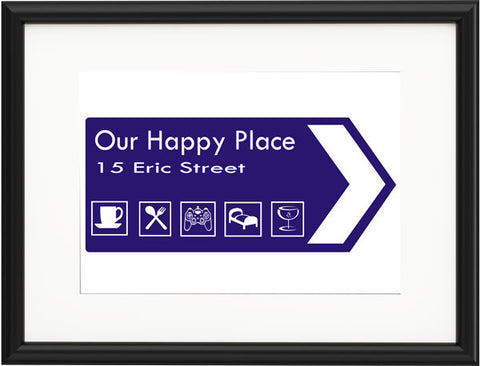 Blue Personalised Road Sign New Home Print