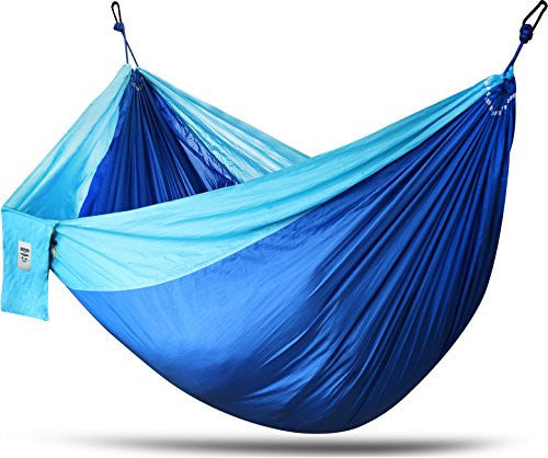 Deluxe, Nylon Hammock - Supports Up To Two People or 400 LBS - For porch, Backyard, Outdoor or Indoor use - Durable, Supreme Material for Strength & Comfort with Hanging Straps Included - Utopia Home