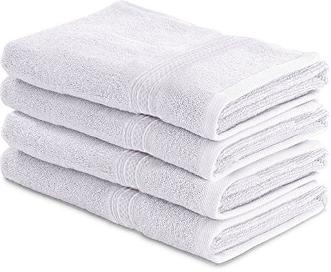 Utopia Towels 700 GSM Cotton 16-Inch-by-28-Inch Hand Towel Set, Set of 4, White