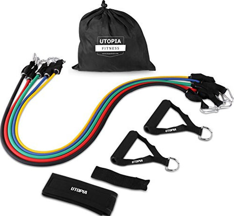 Resistance Band 5 Set for Workout with Door Anchor, Ankle Strap & Mesh Carrier by Utopia Fitness