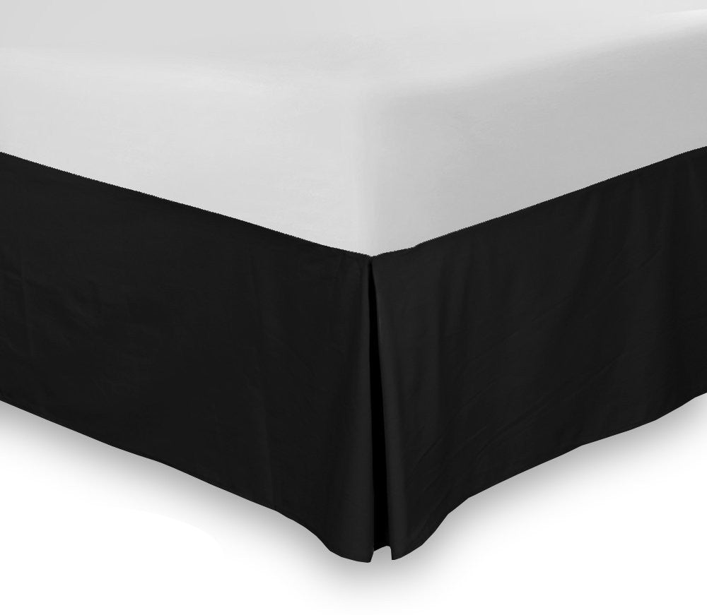 Bed Skirt (Queen Black, 16 Inch Fall)
