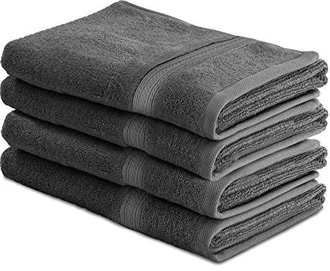 Utopia Towels 700 GSM Cotton 16-Inch-by-28-Inch Hand Towel Set, Set of 4, Grey