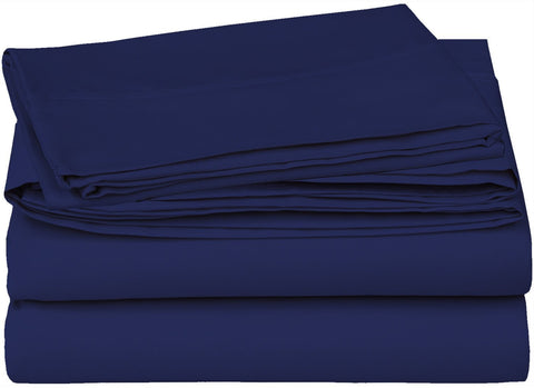 Cotton Sateen 4 PC Bed Sheet Set (Navy)