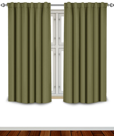 Blackout Room Darkening Curtains Window Panel Drapes - (Olive Color) 2 Panel Set