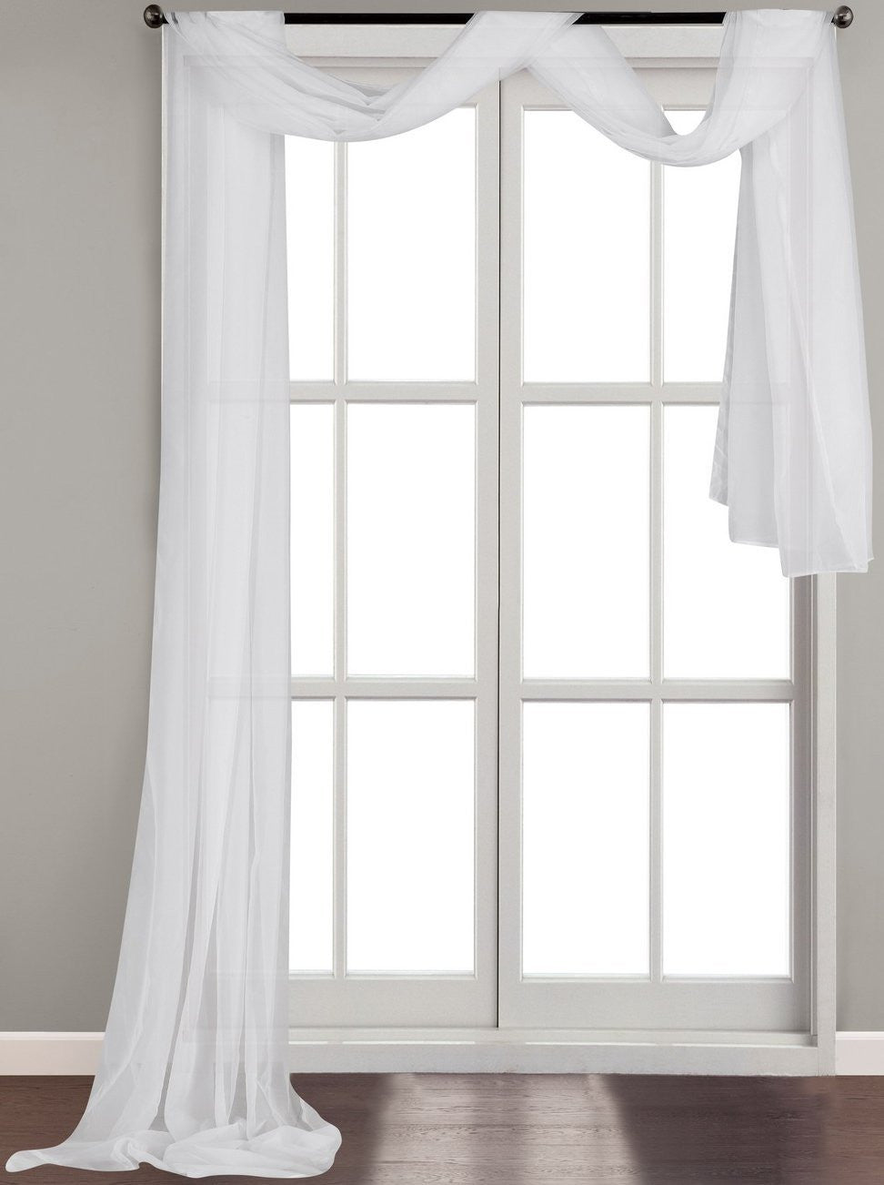 Luxurious White Voile Sheer Scarf Valance