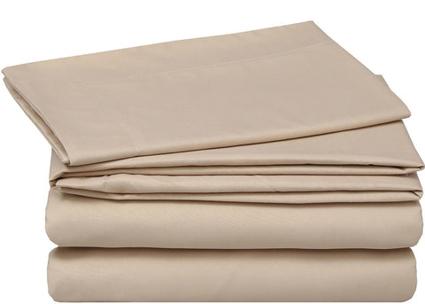 4 Piece Bed Sheet Set (Beige)