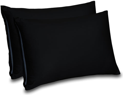 Cotton Sateen Pillow Cases (Black)