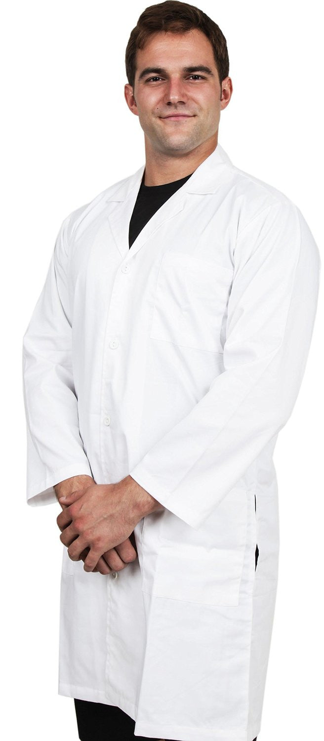 Men Lab Coat with Kick Pleat (White)