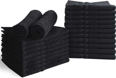 Bleach Proof Salon Towels Black-24 Pack
