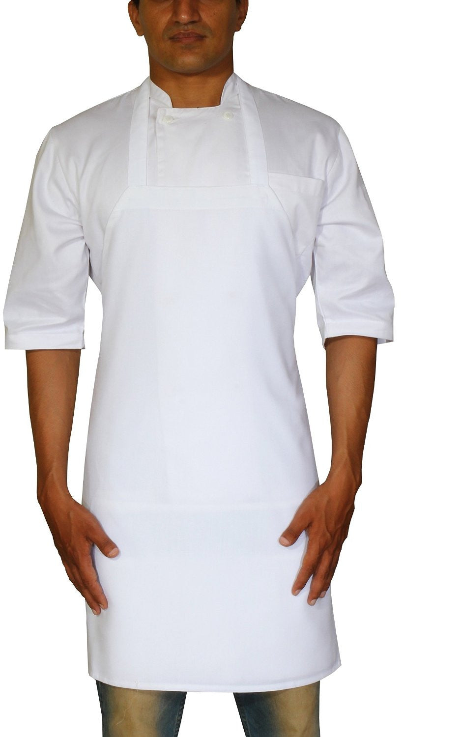 Professional Bib Apron (White-12 Pack)