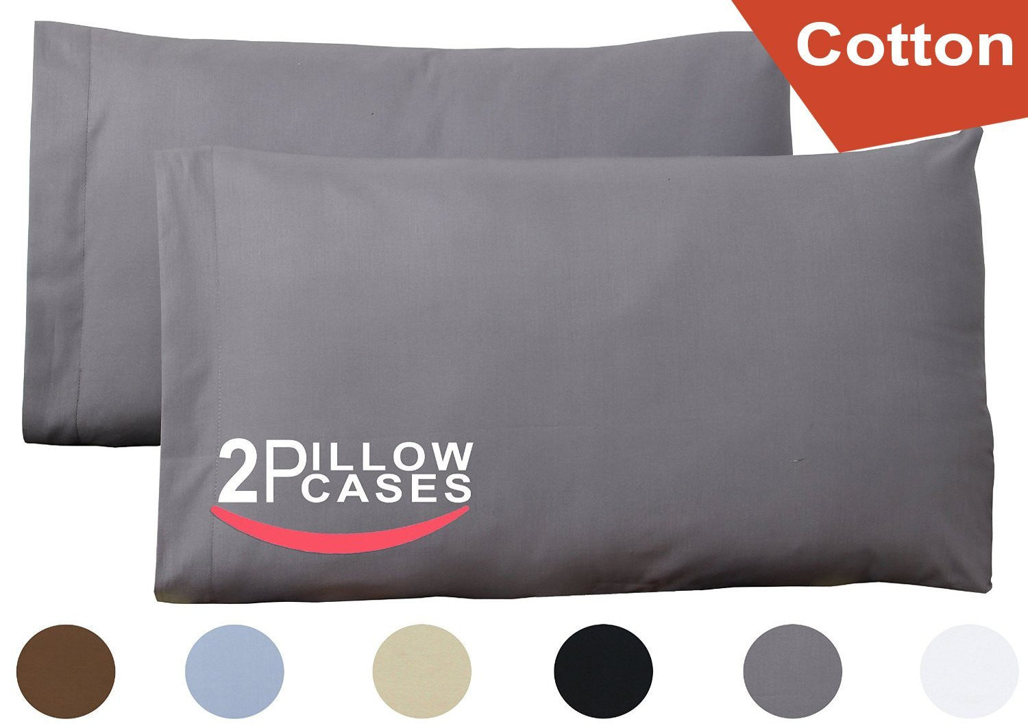 Cotton Pillow Cases (Grey)