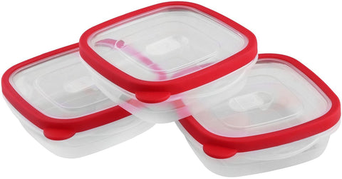 Food Storage Container (Red, 3-Pack)