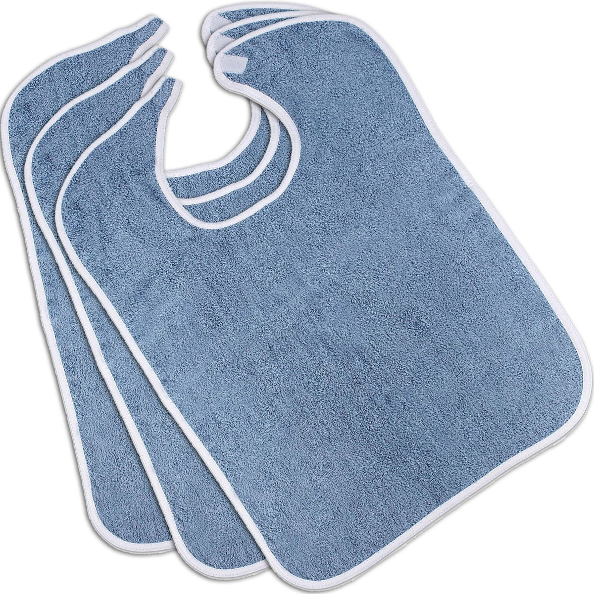 100% Cotton Adult Bibs (Blue 3-Pack)