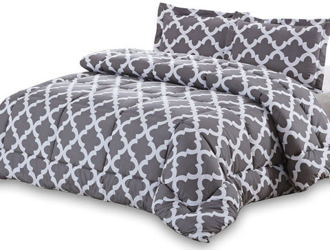 Printed Comforter Set (Grey) with Pillow Shams