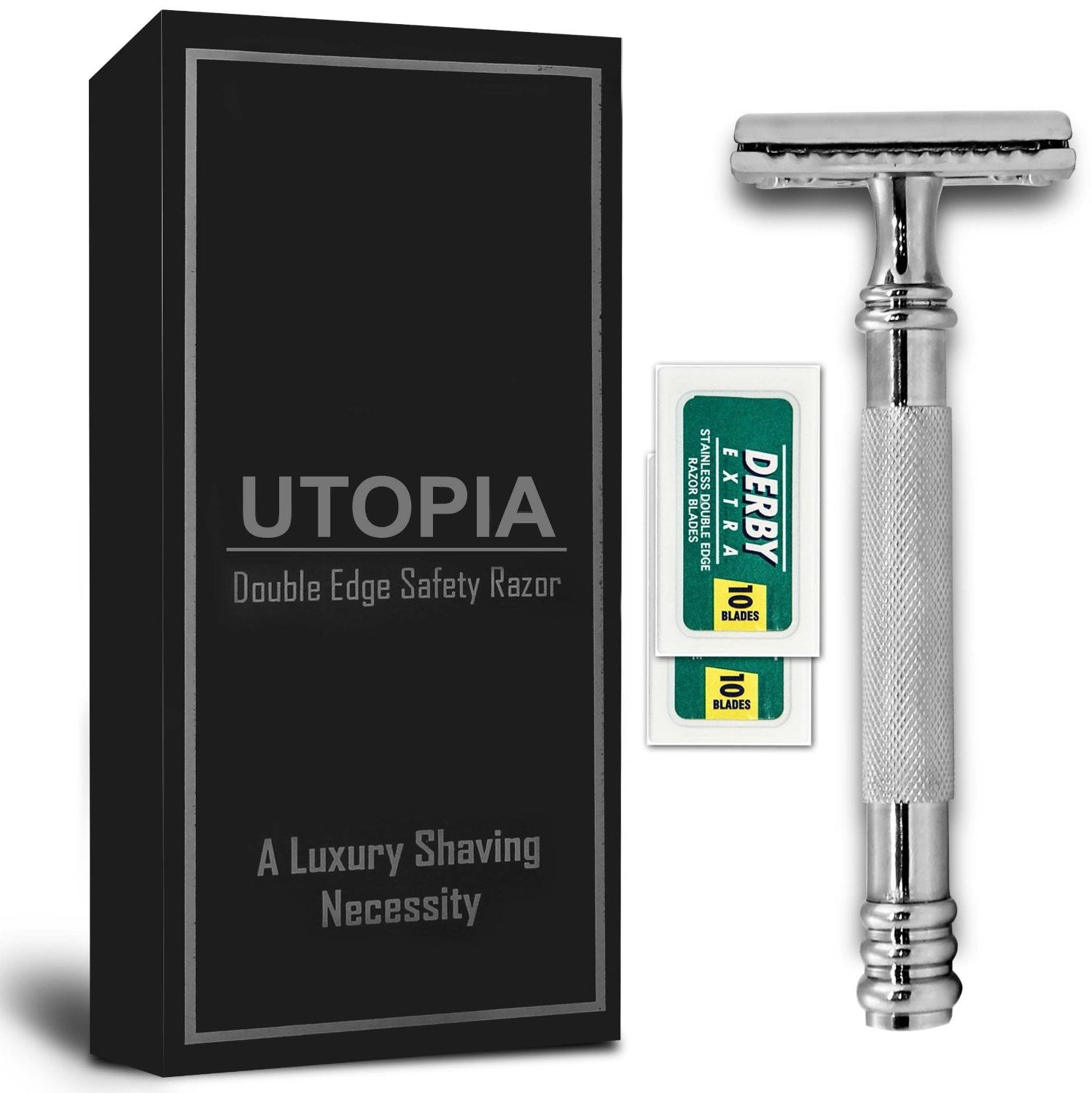 Double Edge Safety Razor with 20 Derby Blades