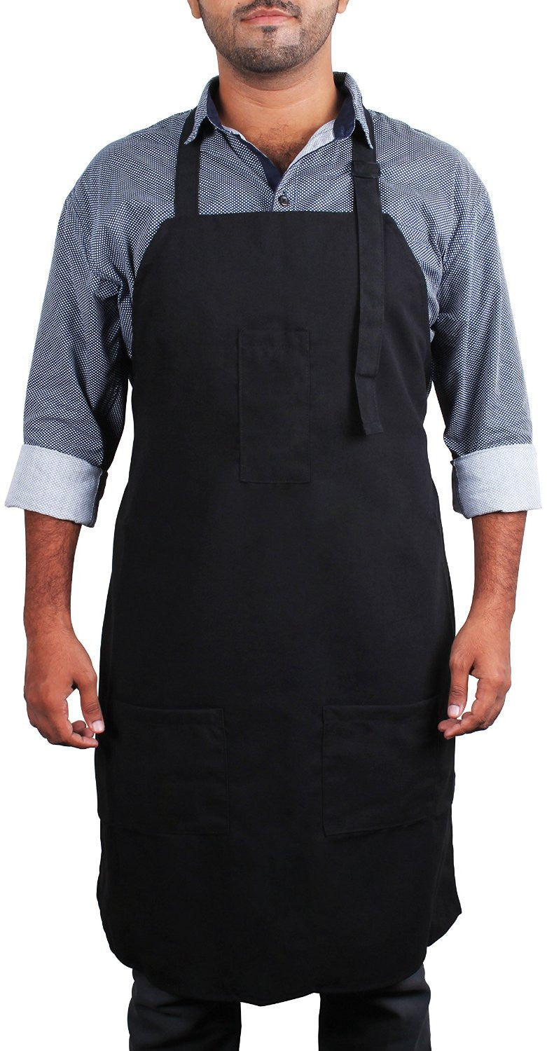 Black Bib Apron with Pockets