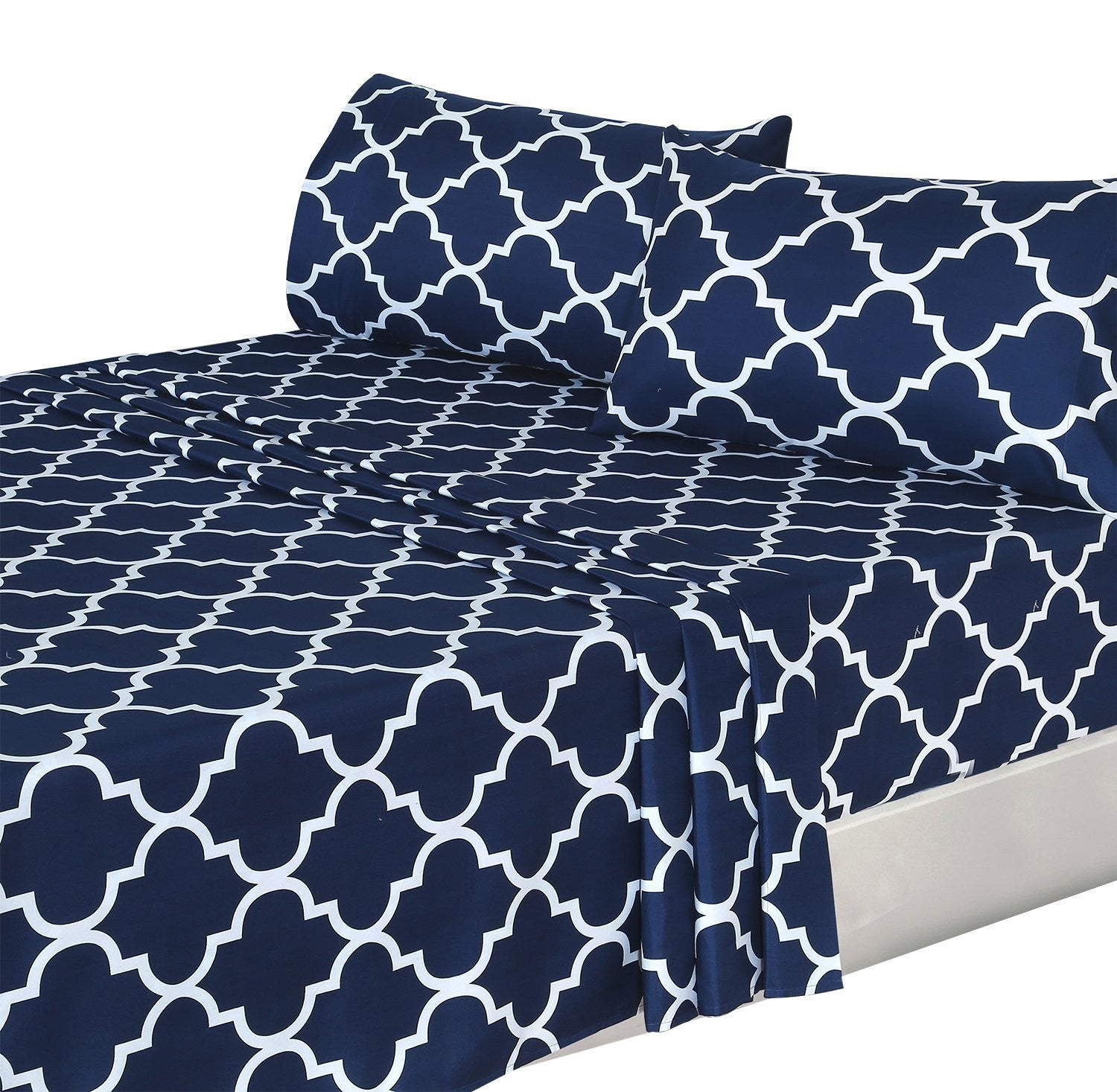 Printed Bed Sheet Set (Navy Blue)