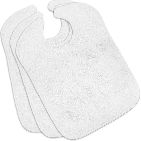 100% Cotton Adult Bibs (White 3-Pack)