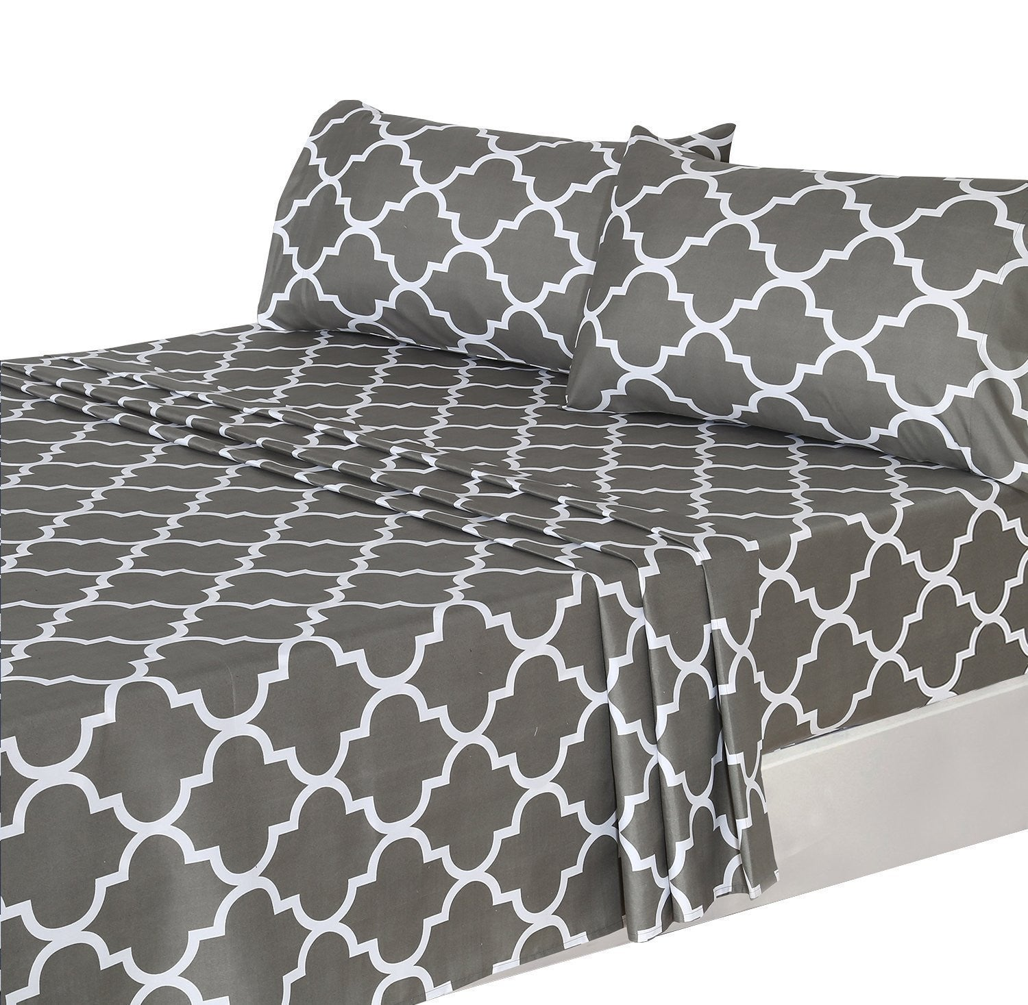 Printed Bed Sheet Set (Grey)