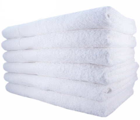 100% Cotton Bath Towels (White - 6 Pack)