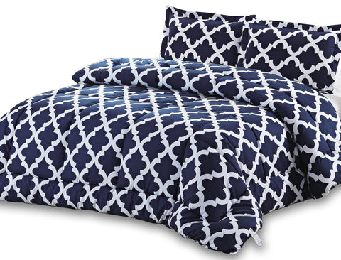 Printed Comforter Set (Navy) with Pillow Shams
