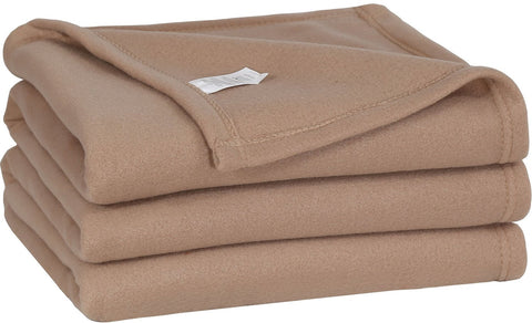 Polar Fleece Throw Blanket (Tan)