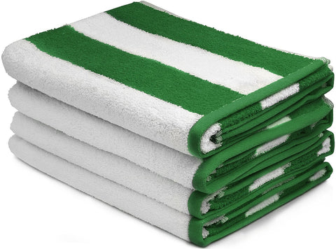 Beach Towel Cabana Stripe, Green-4 pack