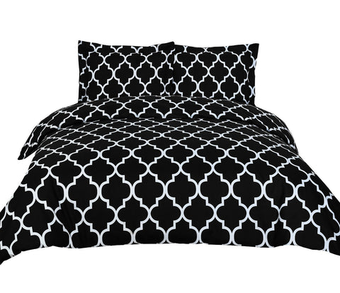 Printed Duvet Cover Set (Black)