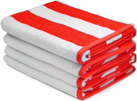 Beach Towel Cabana Stripe, Red - 4 pack