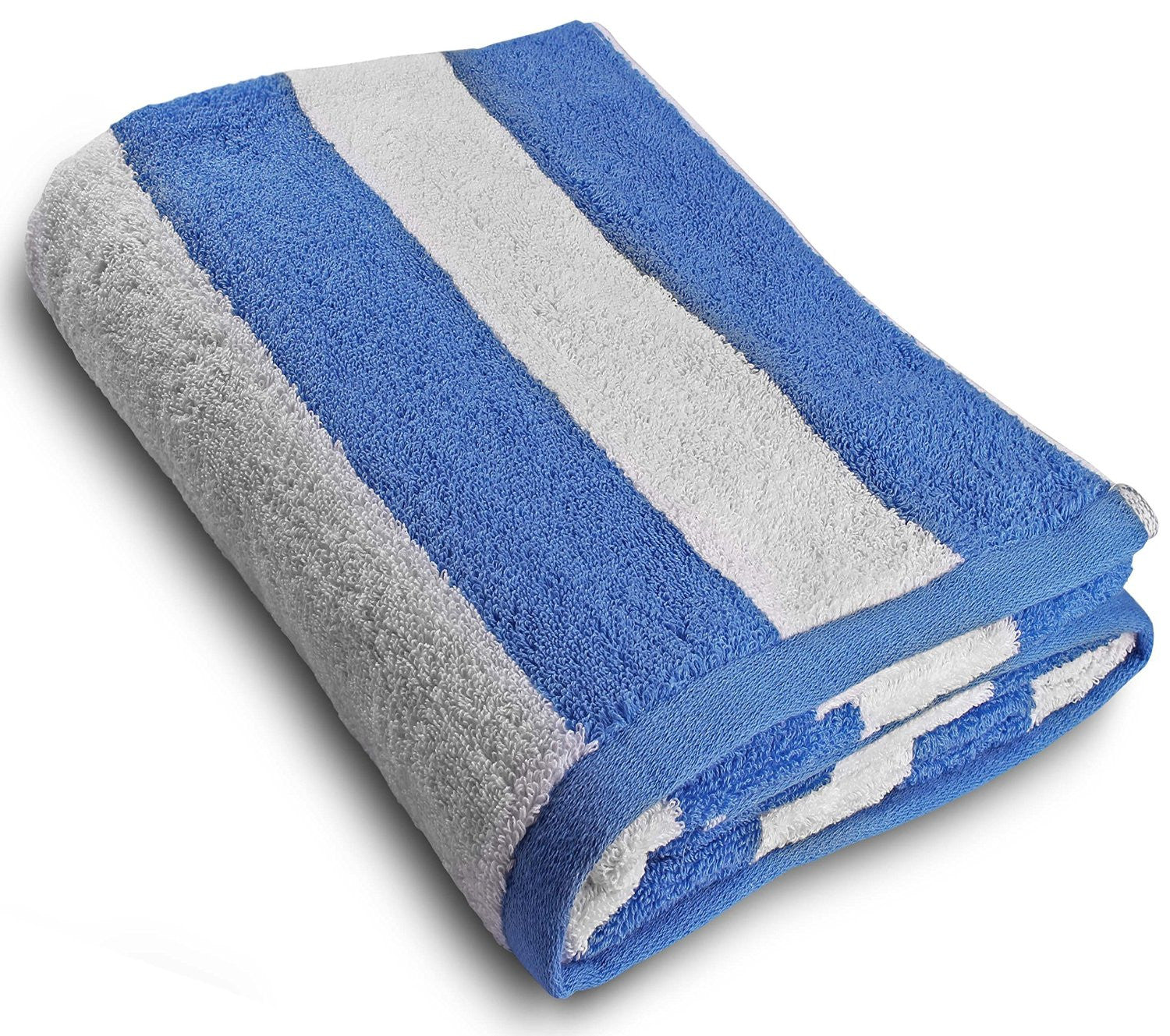 Luxury Beach Towel in Cabana Stripe-Blue