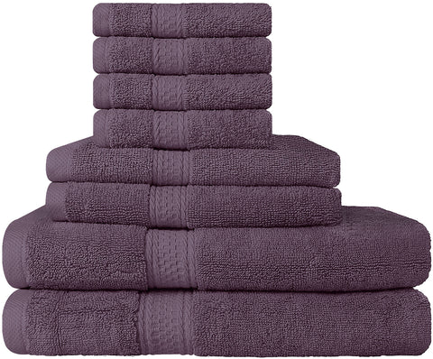 8 Piece Cotton Towel Set - Plum