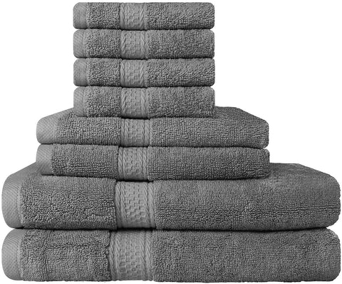 8 Piece Cotton Towel Set - Gray