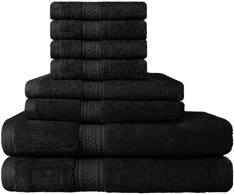 8 Piece Cotton Towel Set - Black